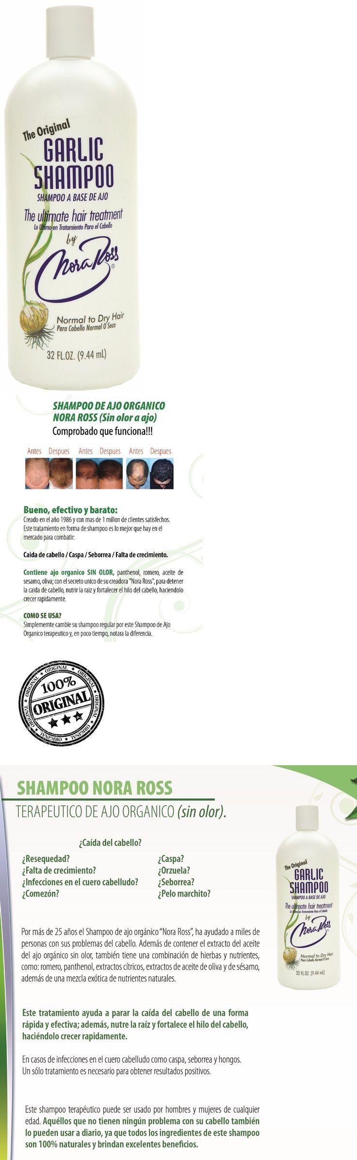 Hair Loss Treatments: Shampoo De Ajo Nora Ross 100% Original.Combate Caida De Cabello, Caspa, Seborrea -> BUY IT NOW ONLY: $39.95 on eBay!