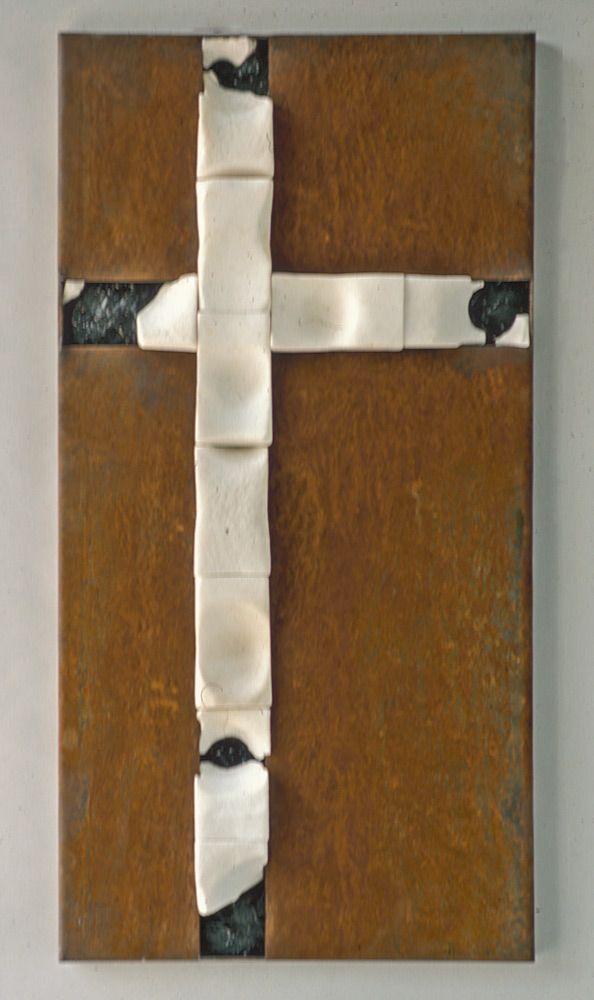 "Salt Lick Cross (2005) | Theodore Prescott Salt Lick Cross (2005) 2005. corten steel, salt blocks, and tar (48"" x 24.5"" x 3.25""). Private collection."