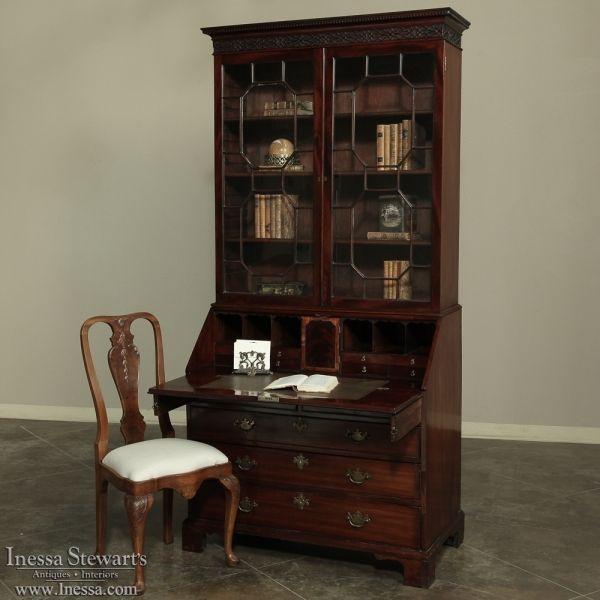 Antique Furniture | Antique Desks & Secretaries | 19th Century Mahogany English Secretary ~ Bookcase | www.inessa.com