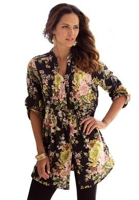 Perfect English Floral Bigshirt | Plus Size Casual Parties | Roamans