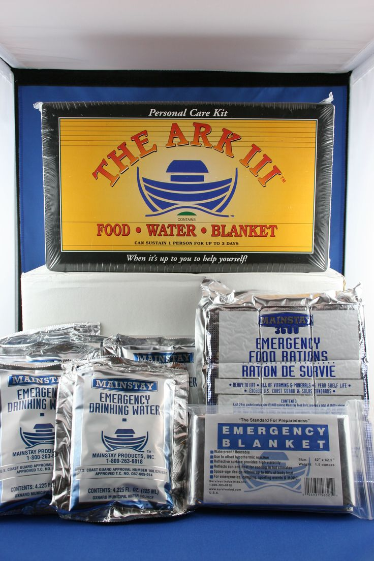 Mainstay ARK III water, 3 days food and space blanket - www.survivalstorehouse.com
