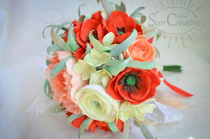 Яркий и стильный свадебный букет из фоамирана.  Рада видеть вас на своей страничке http://vk.com/id70291624