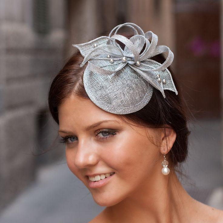 Silver cocktail hat with flower and Swarovski pearls, bridal hat, bridal headpiece, elegant hair accessory. $59.00, via Etsy.