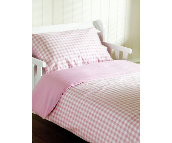 The Saplings Cot Bed Duvet Cover and Pillowcase - Pink Gingham is washable and made from polyester and cotton. #Nursery #Bedroom #Cots #Cot #Beds #Bedding #Furniture #Baby #Toddler #Beds, #Cribs #Cradles