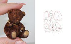 Pattern Teddy Bear / выкройка мини медвежонка тедди