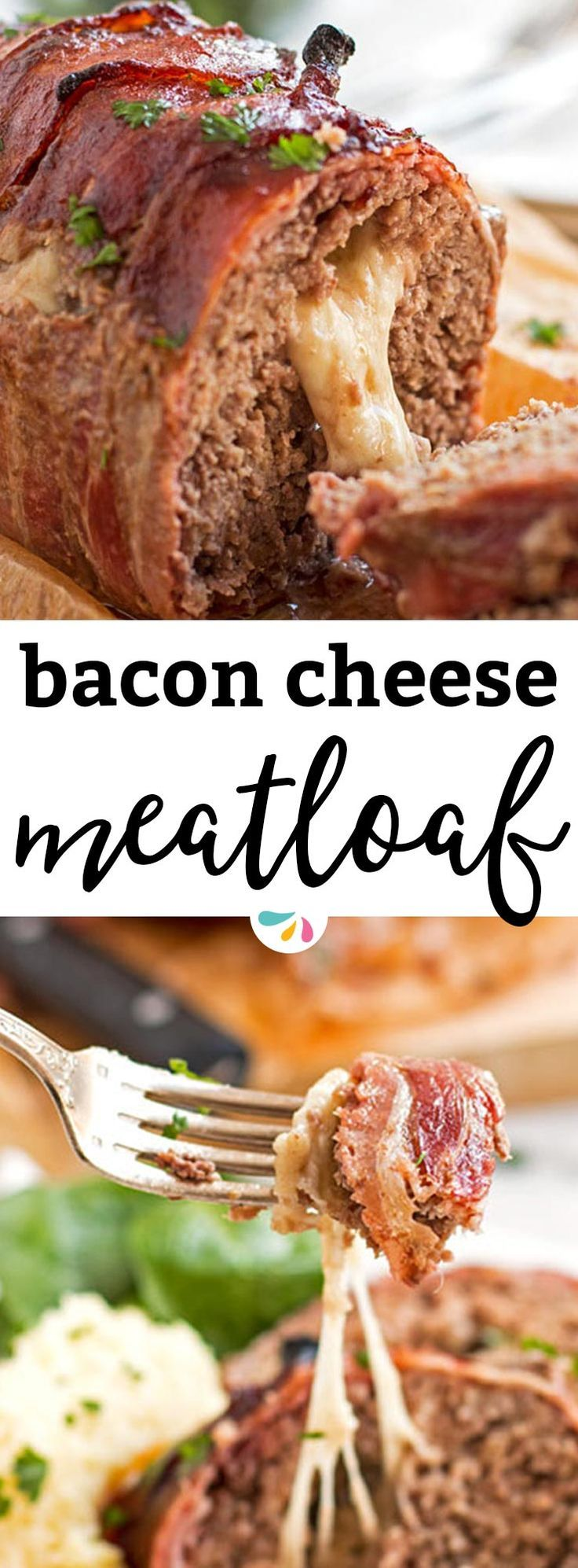 This homemade Mozzarella Stuffed Bacon Wrapped Meatloaf is stuffed with melty cheese and wrapped in plenty of bacon for an easy comforting family dinner. The recipe is cooked without ketchup and smothered in a BBQ sauce glaze instead. The classic meatloaf base is made with ground beef, eggs and with breadcrumbs. Served with your favorite sides and a simple gravy, the cheesy middle of this meatloaf is the best! Adapted from The Pioneer Woman.   #recipe #bacon #dinner #cheese