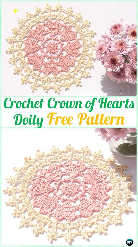 Crochet Crown of Hearts Doily Free Pattern - Crochet Doily Free Patterns
