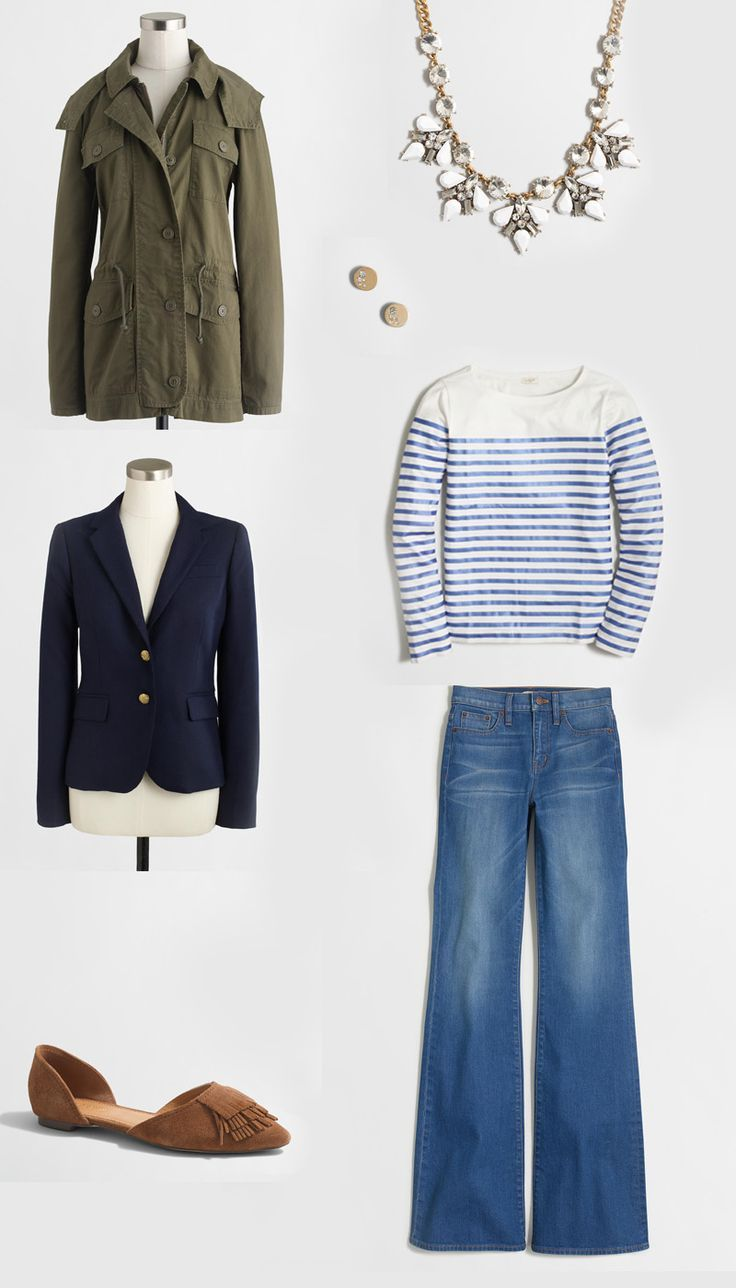Love this outfit combination with striped top, blazer, wide-leg jeans, suede fringed flats and a military jacket. Valentines and Presidents' Day Sale Picks - Life On Virginia Street
