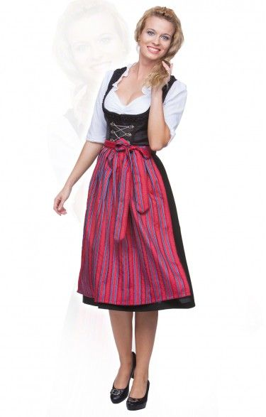 Oktoberfest dirndl apron SC150 - red/blue midi