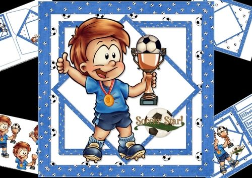 8x8 soccer star boy mini kit 1 by Carol Smith a 4 sheet mini kit for the young soccer fans has the soccer fan with his medal on and cu held in the air having just won the match co-ordinating tags for the placement of your choice say  happy birthday soccer star and 1 footy fan also a blank tag for the greeting of your choice. This version has a blue themeKit contains main topper decoupage elements