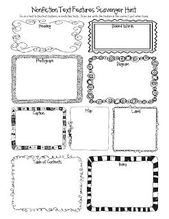 non-fiction scavenger hunt  She has other graphic organizers that might be helpful when teaching writing to lower elementary students.  Also ideas for anchor charts.