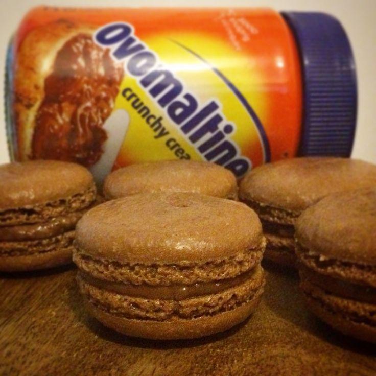 Chocolate Ovomaltine Macarons