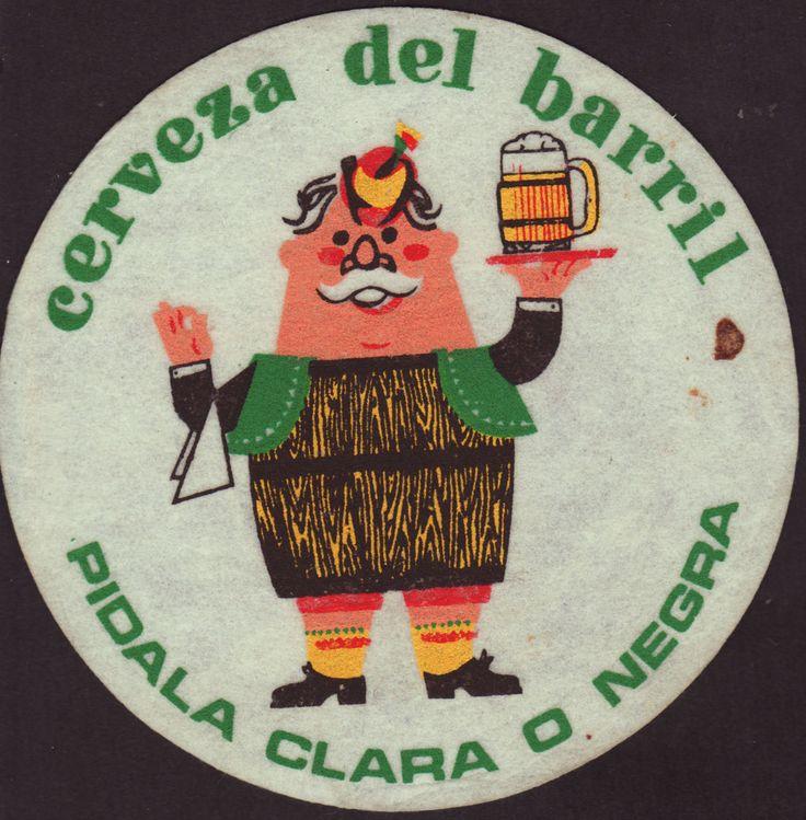 Cerveza del barril early 1980s Colombia Coaster Posavasos