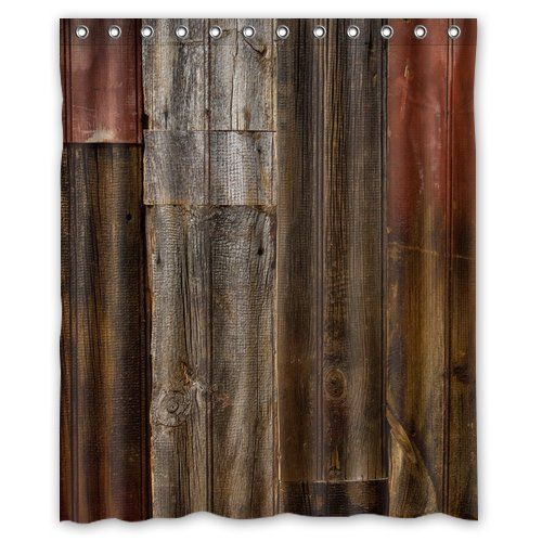 Waterproof Decorative Rustic Old Barn Wood Art Shower Curtain 60