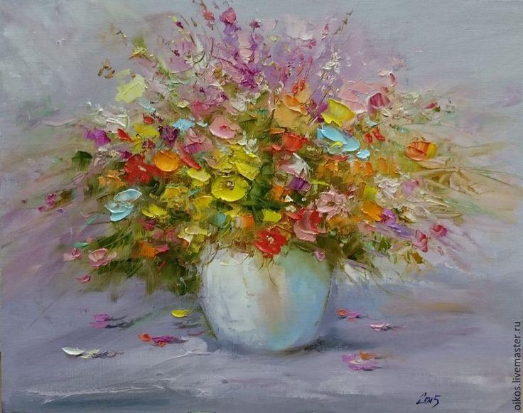 Купить Картина маслом на холсте мастихином с абстрактными цветами - разноцветный, картина цветов, абстрактные цветы