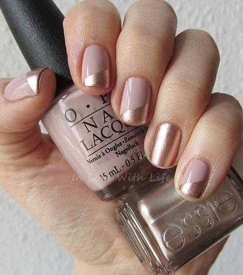 blush and gold wedding manicure