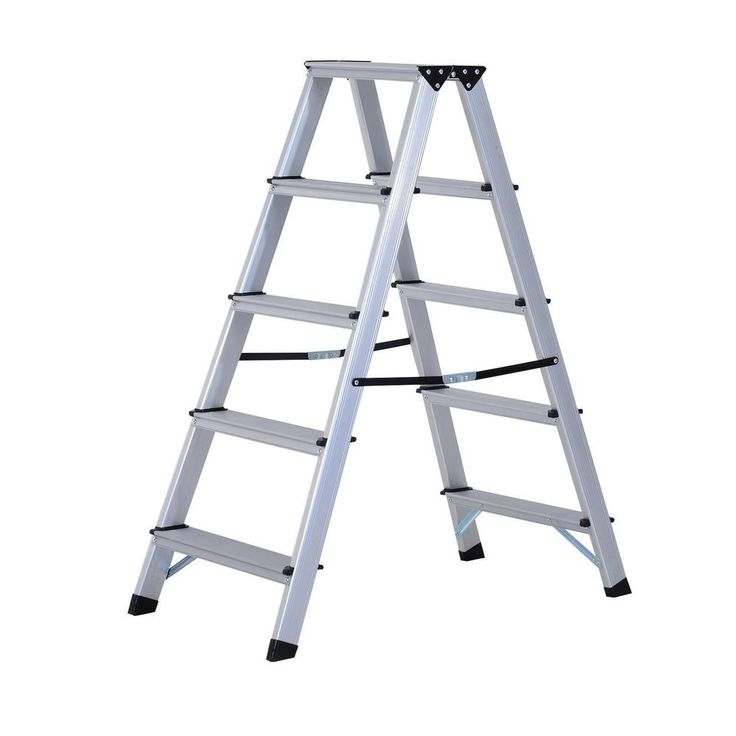 Details About 5 Step Aluminium Ladder Large Folding Home
