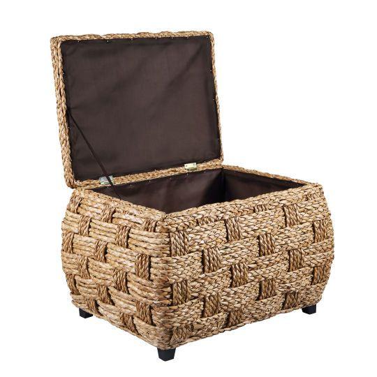 Decor, Storage Ottoman, Water Hyacinth, Wicker Ottoman, Storage Baskets,  Hyacinth Storage, Ottomans - Div>Pretty Wicker Ottoman Does Double Duty As A Storage Basket