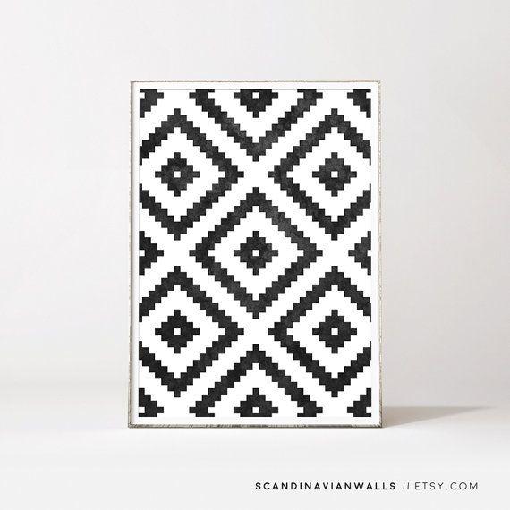 Aztec Print Scandinavian Trend Minimalist Art By ScandinavianWalls