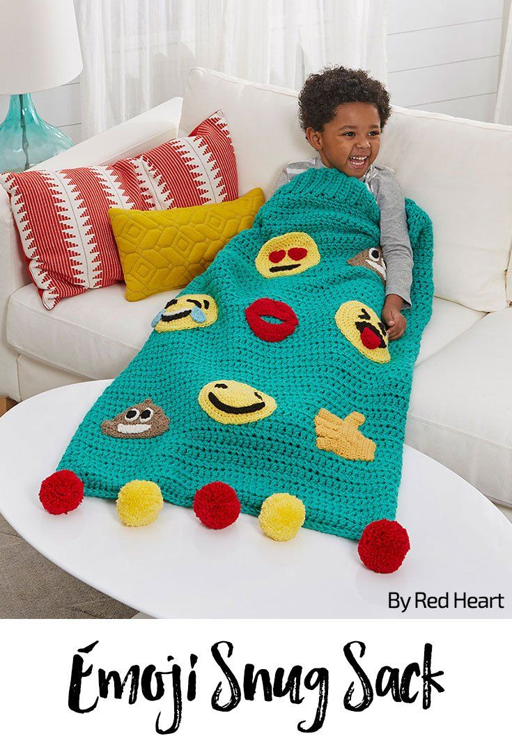 Emoji Snug Sack free crochet pattern in Super Saver yarn.