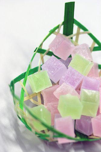 Sugar coated Jelly cube sweets, Stylish Japanese Food