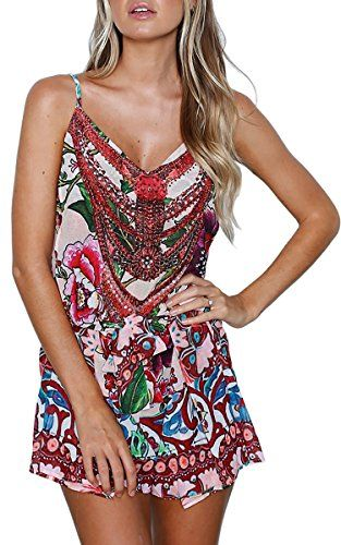 85d9b7bbd3 ECOWISH Womens Spaghetti Strap Floral Print summer playsuits for women