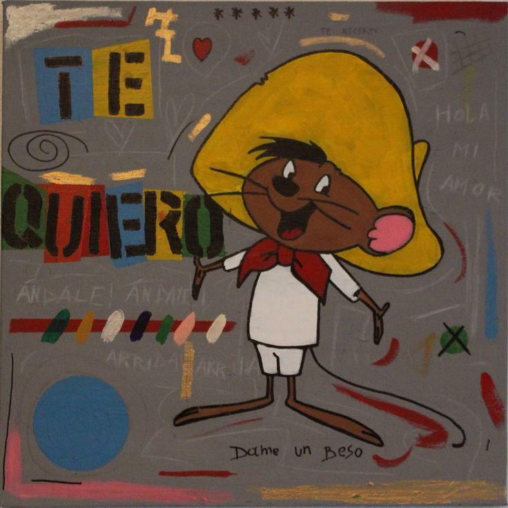 schilderij te quiero met speedy gonzales acryl op canvas comic cartoon pop art abstract schilderij