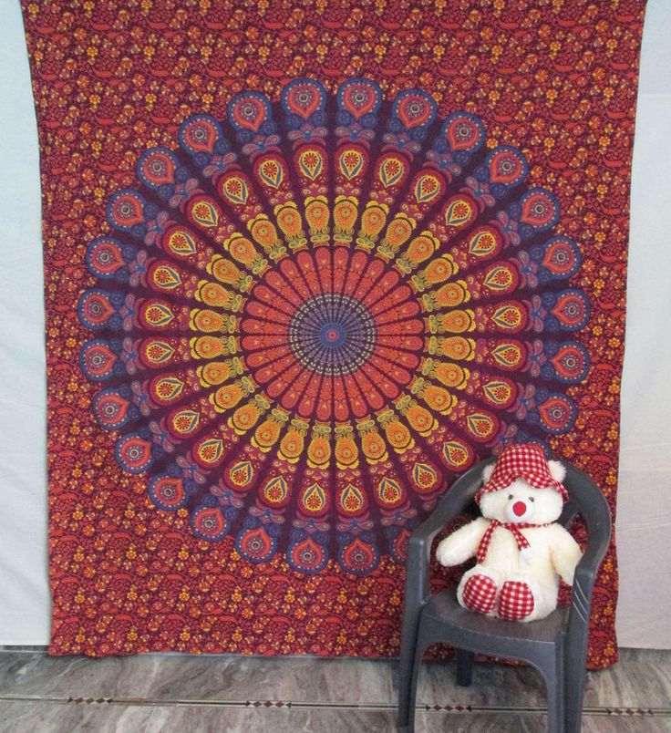 Indian Cotton Mandala Bedspread Wall Hanging Hippie Throw Bohemian Tapestry #Handmade