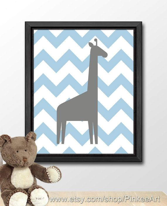 giraffe art print for kids, giraffe nursery decor, safari kids wall art, chevron kids room decor, playroom decor, kids print, kids decor by PinkeeArt, $11.00