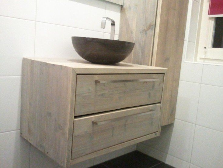steigerhout wastafelmeubel