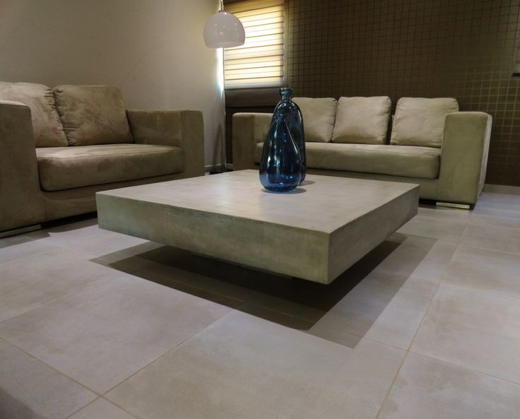 Light Grey Polished Concrete Coffee Table C U B E