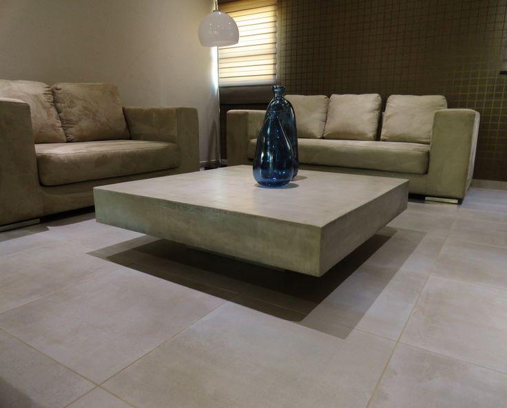 Light grey polished concrete coffee table   C U B E ...