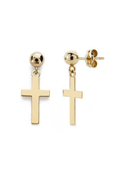 Pendientes esfericos con cruz de oro amarillo de 18 kts. #cruz #pendientes #moda #oro #joyas #joyeria #joyeriaonline #earrings #trends #jewelry #gold