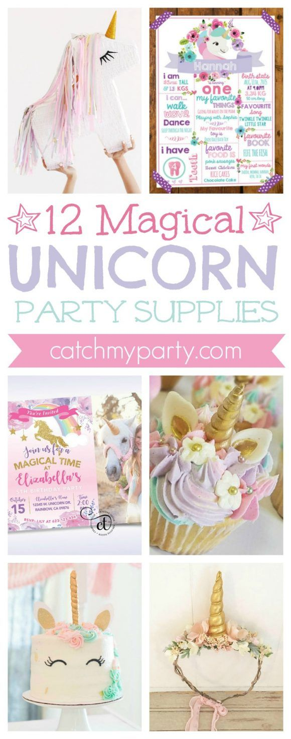 12 Magical Unicorn Party Supplies including ideas for invitations, cake toppers, party favors, cookies, decorations and more! | CatchMyparty.com