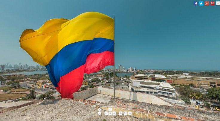 Bandera de Colombia en el Castillo de San Felipe