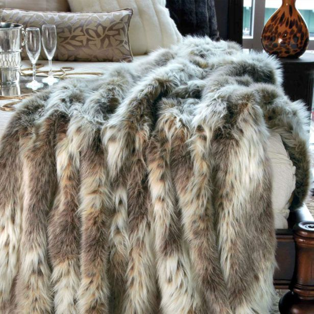 Interior Faux Fur Chinchilla Blanket Heated Faux Fur