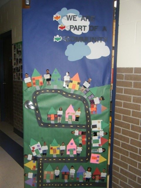 Social Studies Classroom Door Decorations ~ Pre k quot we are part of a neighborhood door decoration