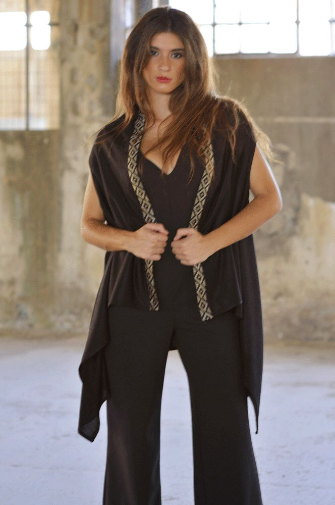 Black trimmed tunic by MagdaleneD on Etsy https://www.etsy.com/listing/250339519/black-trimmed-tunic
