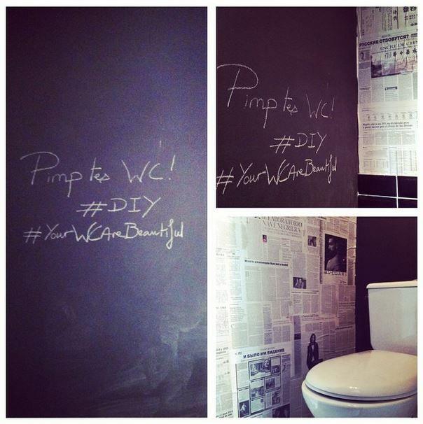 d co wc papier journal peinture tableau noir salle de. Black Bedroom Furniture Sets. Home Design Ideas