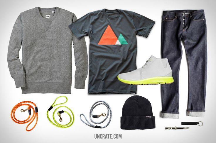 Paracord Dog Leash ($40). Uniqlo Sweatshirt ($40). Ugmonk Mountains Shirt ($26). Nike Ralston Lunar ($73). Huf Single Fold Beanie ($16). A.P.C. New Cure Jeans ($175). Silent Dog Whistle ($10)