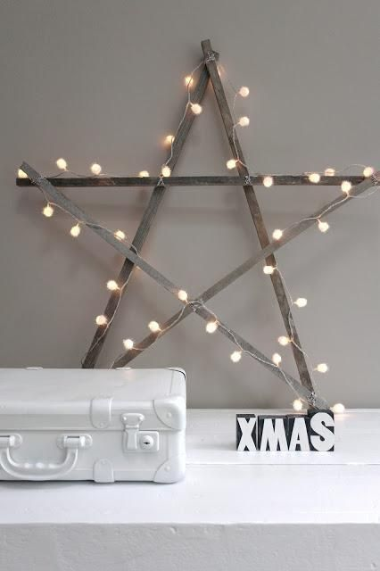 DIY: Christmas Star Tutorial - made using wood strips, cording & lights. Such a cute & easy project!!!