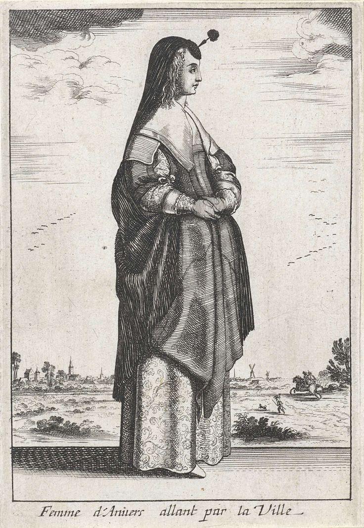 Wenceslaus Hollar | Femme d'Anvers allant par la Ville, Wenceslaus Hollar, Anonymous, Balthazar Moncornet, 1662 | Vrouw uit Antwerpen, staand naar rechts, voor een landschap. Zij draagt een huik bestaande uit een klein rond hoedje met een opstaande staak en pluim op het voorhoofd, waaraan een ruime, fijn geplooide cape die hier tot aan de ellebogen is opgenomen. Lang krullend haar valt tot op de schouders. Twee onversierde halsdoeken over elkaar: een dubbelgevouwen vierkante en een die over…