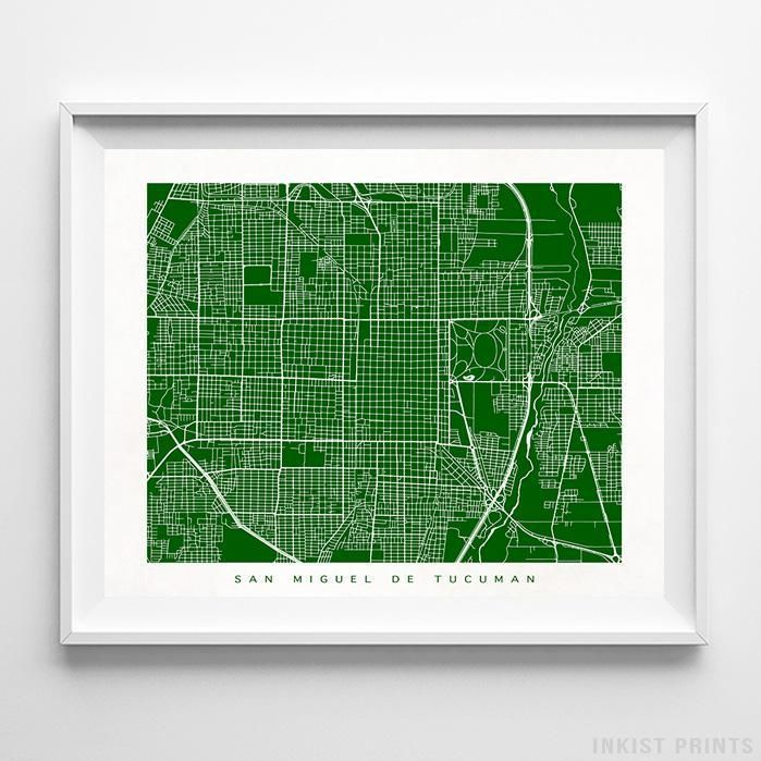 San Miguel de Tucuman Argentina Street Map Wall Decor Poster. 70 Color Options. Prices from $9.95. Available at InkistPrints.com - #streetmap #map #homedecor #walldecor #Tucuman #Argentina