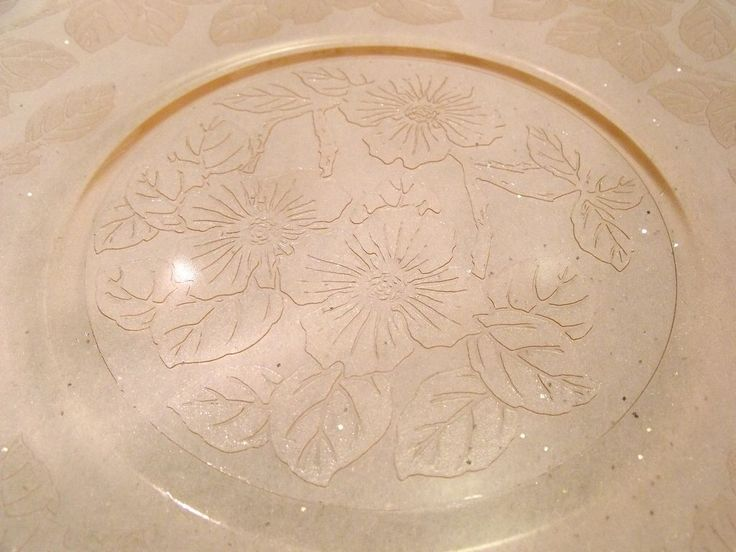 Pink Glass Plates With Grape Design