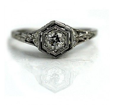 Art Deco Diamond Solitaire Engagement Ring Circa 1920's with center Old European cut diamond weighing .30 carat.#weddings