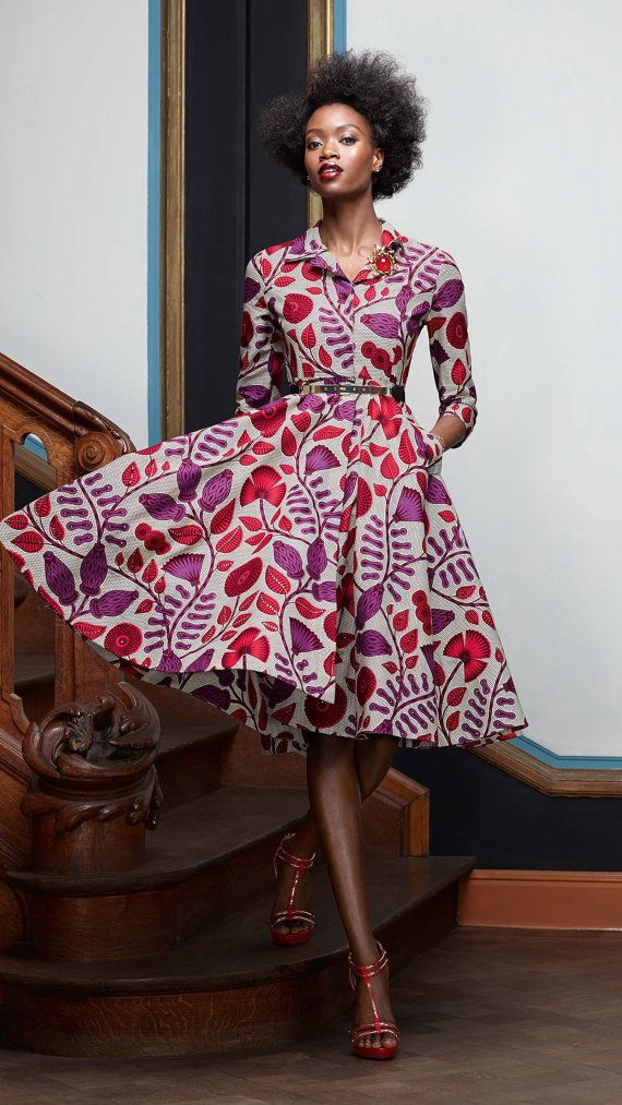 Floral African wax print shirtdress.