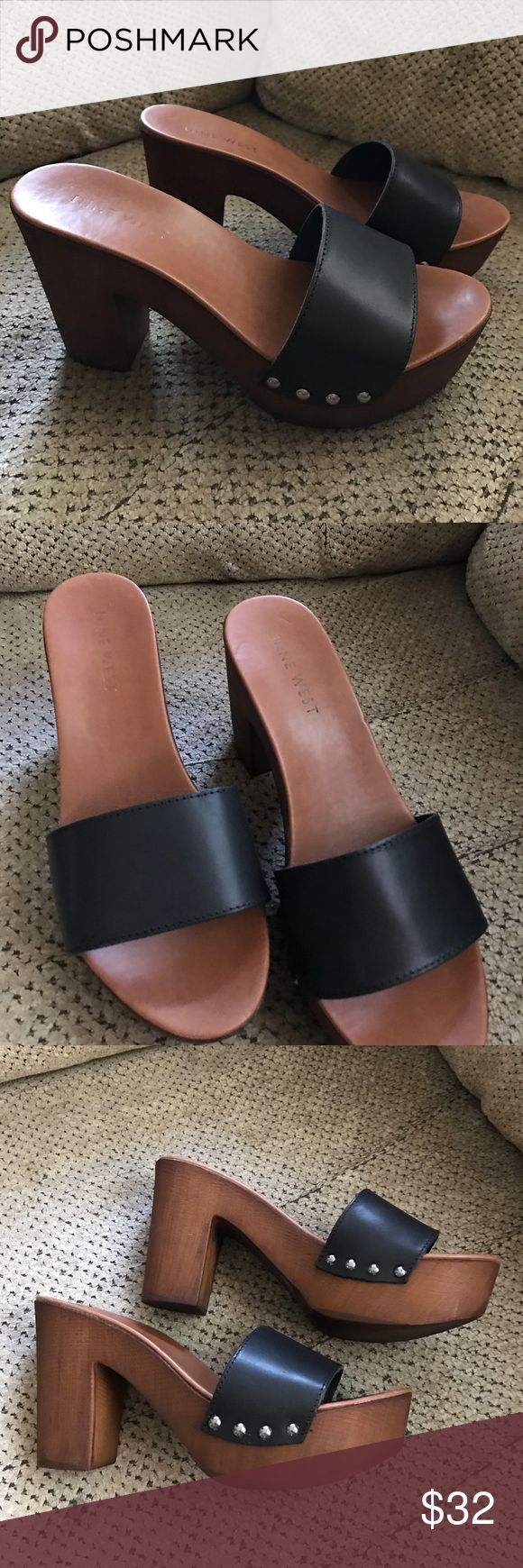 Nine West Platform Mules/Clogs Never worn only tried on; Nine West Platform Mules/Clogs with thick black strap and buttons on sides Nine West Shoes Mules & Clogs