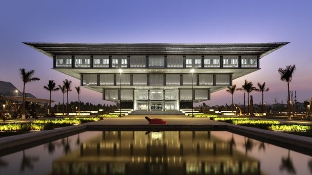 This is the Hanoi Museum—in Hà Nội City, Vietnam—a beautiful 30,000 square metre building designed by gmp Architekten.
