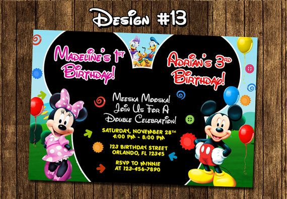 Mickey Mouse Clubhouse Baby Twins Birthday Party by funinvitez, $12.99