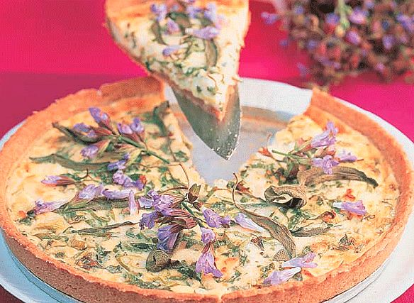 Rezept: Salbeiblüten-Schafskäse-Quiche